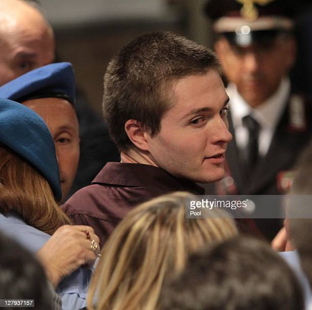 Raffale Sollecito looks on after hearing the verdict, that overturns his conviction and acquits him of murdering Meredith Kercher, at the Perugia...