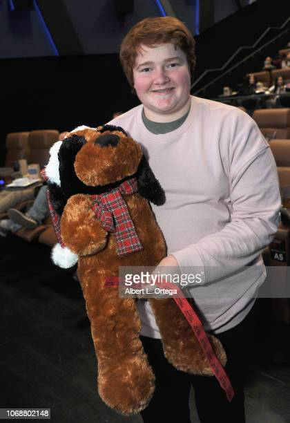 Raffel winner Trevor Larcom at the Hunter Payton And The Shoe Crew Holiday Charity Fundraiser Screening of Illumination's 'The Grinch' Benefiting The...