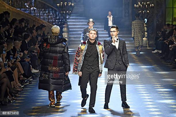 Rafferty Law and Austin Mahone on the runway at the Dolce Gabbana Autumn Winter 2017 fashion show during Milan Menswear Fashion Week on January 14...