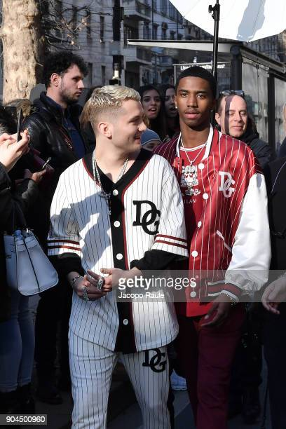 Rafferty Law and Christian Combs are seen on the set of the DolceGabbana Advertising Campaign during Milan Men's Fashion Week Fall/Winter 2018/19 on...