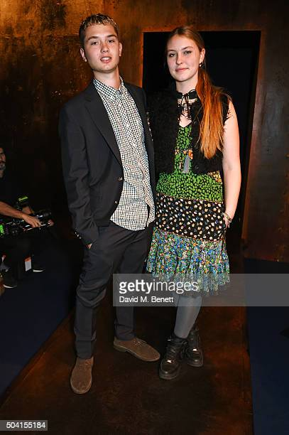 Rafferty Law and Ella Dallaglio attend the Coach FW16 show front row during London Collections Men at The Lindley Hall on January 9 2016 in London...