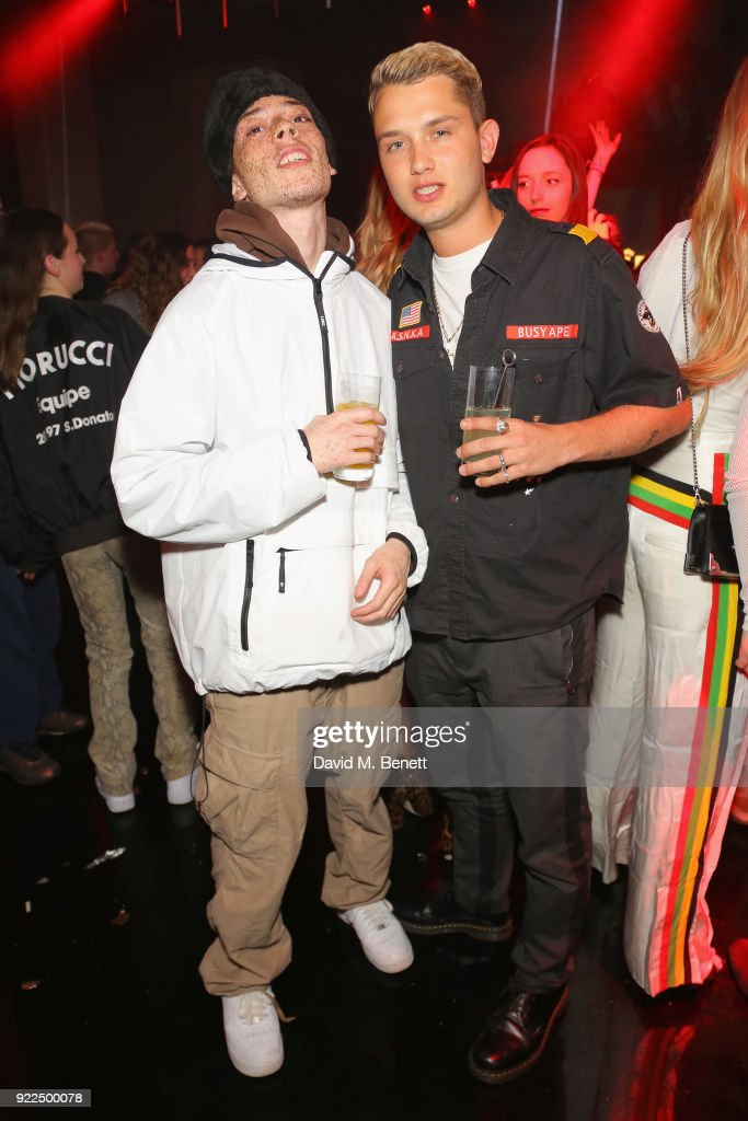 Rafferty Law (R) and Elliot Jay Brown attend the Brits Awards 2018 After Party hosted by Warner Music Group, Ciroc and British GQ at Freemasons Hall on February 21, 2018 in London, England.