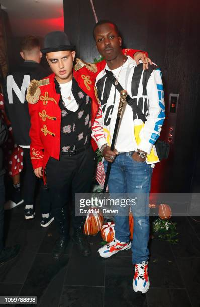 Rafferty Law and Jamal Edwards pose at South Place Hotel for Jamel Edwards and SHO's Halloween extravaganza 'CarnEVIL' on October 26 2018 in London...