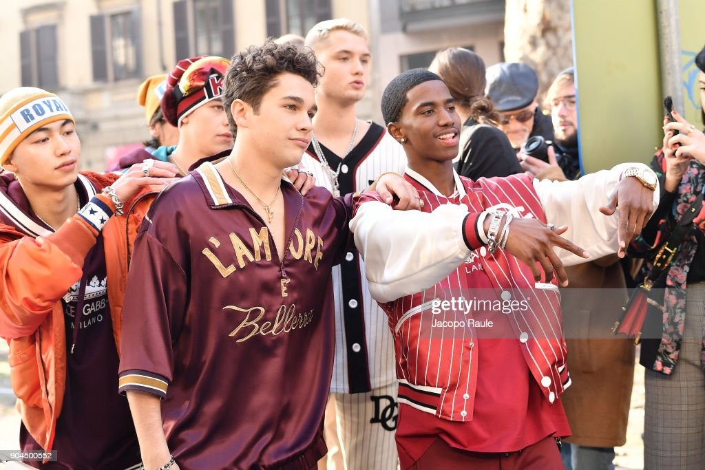 Rafferty Law, Christian Combs and Austin Mahone are seen on the set of the Dolce&Gabbana Advertising Campaign during Milan Men's Fashion Week Fall/Winter 2018/19 on January 13, 2018 in Milan, Italy.