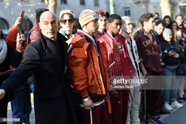 Rafferty Law Christian Combs and Austin Mahone are seen on the set of the DolceGabbana Advertising Campaign during Milan Men's Fashion Week...