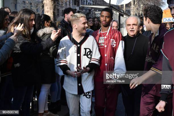 Rafferty Law Christian Combs and Franco Pagetti are seen on the set of the DolceGabbana Advertising Campaign during Milan Men's Fashion Week...