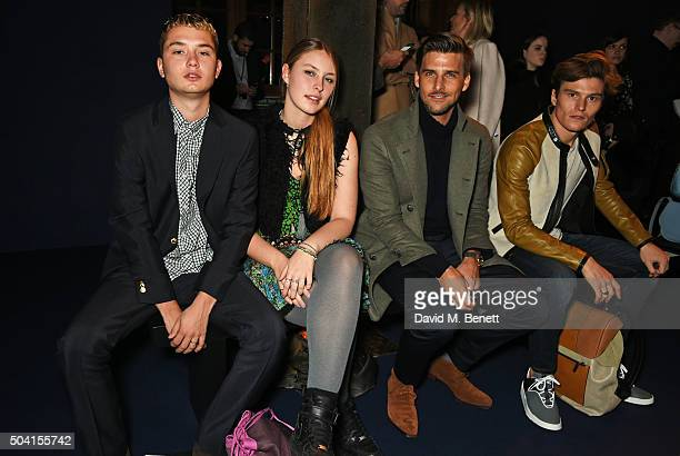 Rafferty Law Ella Dallaglio Johannes Huebl and Oliver Cheshire attend the Coach FW16 show front row during London Collections Men at The Lindley Hall...