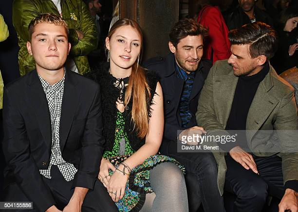 Rafferty Law Ella Dallaglio Robert Konjic and Johannes Huebl attend the Coach FW16 show front row during London Collections Men at The Lindley Hall...