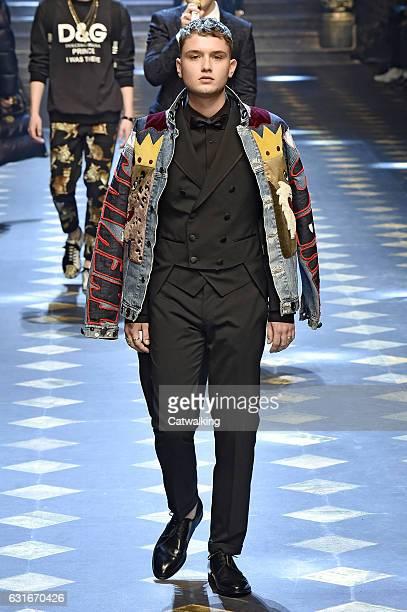 Rafferty Law walks the runway at the Dolce Gabbana Autumn Winter 2017 fashion show during Milan Menswear Fashion Week on January 14 2017 in Milan...