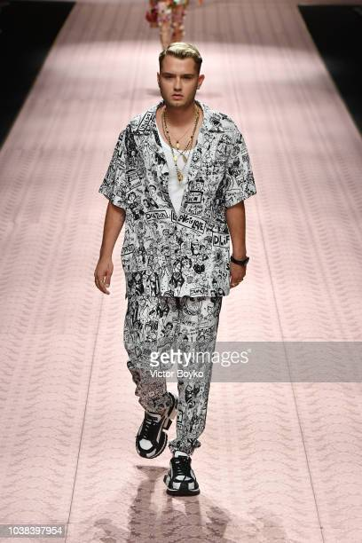 Rafferty Law walks the runway at the Dolce Gabbana show during Milan Fashion Week Spring/Summer 2019 on September 23 2018 in Milan Italy