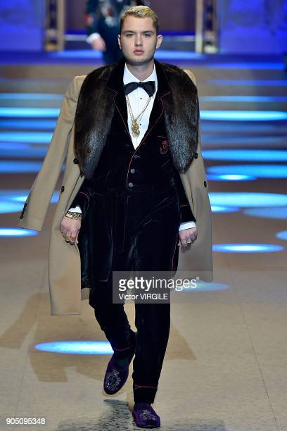 Rafferty Law walks the runway at the Dolce Gabbana show during Milan Men's Fashion Week Fall/Winter 2018/19 on January 13 2018 in Milan Italy