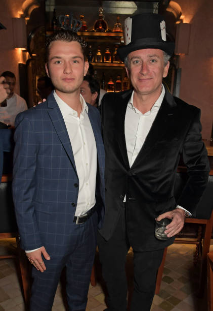 Rafferty Law wearing BOSS and Formula E Chairman Alejandro Agag attend The ABB FIA Formula E Mad Hatters Moroccan Tea Party in celebration of the...