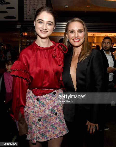 Raffey Cassidy and Natalie Portman pose at the after party for the premiere of Neon's Vox Lux at Paley on December 5 2018 in Los Angeles California