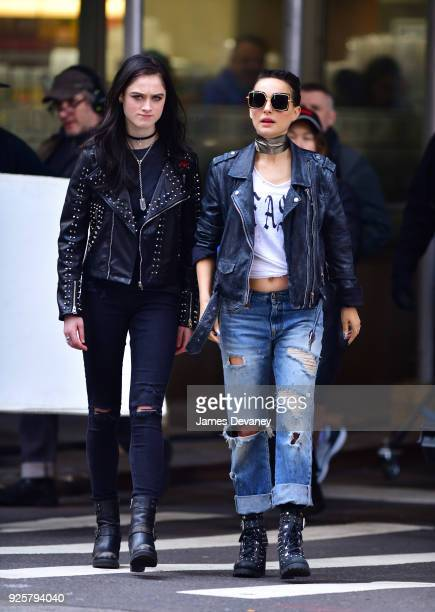 Raffey Cassidy and Natalie Portman seen on location for Vox Lux in the Financial District on February 28 2018 in New York City
