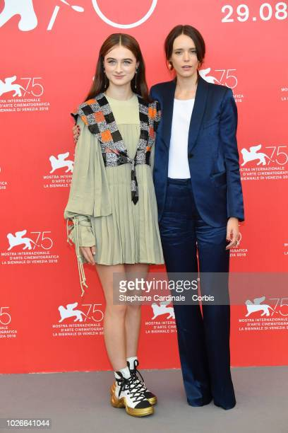 Raffey Cassidy and Stacy Martin attend 'Vox Lux' photocall during the 75th Venice Film Festival at Sala Casino on September 4 2018 in Venice Italy