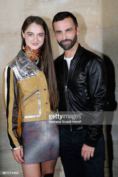 Raffey Cassidy and stylist Nicolas Ghesquiere pose after the Louis Vuitton show as part of the Paris Fashion Week Womenswear Spring/Summer 2018 on...