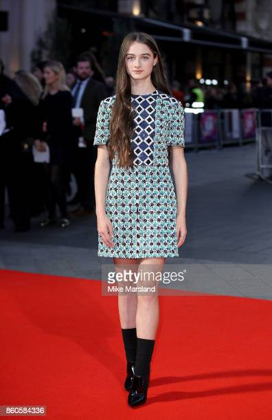 Raffey Cassidy attends the Headline Gala Screening UK Premiere of 'Killing of a Sacred Deer' during the 61st BFI London Film Festival on October 12...
