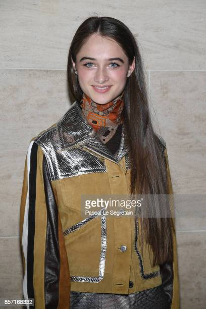 Raffey Cassidy attends the Louis Vuitton show as part of the Paris Fashion Week Womenswear Spring/Summer 2018 on October 3 2017 in Paris France