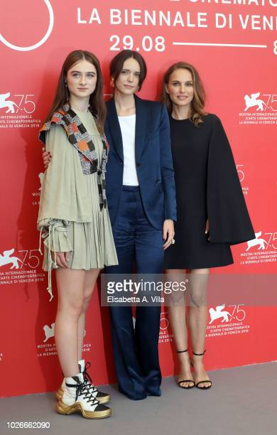 Raffey Cassidy Stacy Martin and Natalie Portman attend 'Vox Lux' photocall during the 75th Venice Film Festival at Sala Casino on September 4 2018 in...