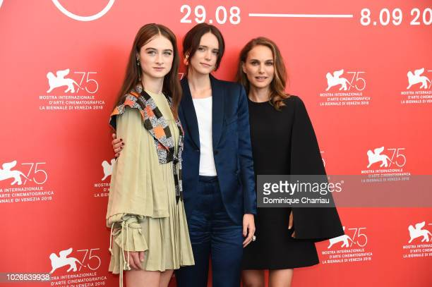 Raffey Cassidy Stacy Martin and Natalie Portman attends 'Vox Lux' photocall during the 75th Venice Film Festival at Sala Casino on September 4 2018...