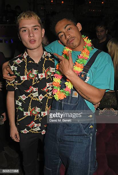 Raffi Law and Jordan Stephens attend the Ibiza Rocks the Box Christmas Party at The Box Soho on December 8 2015 in London England