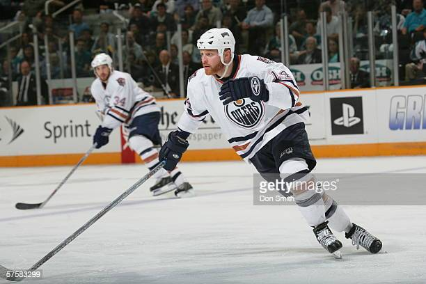 Raffi Torres of the Edmonton Oilers skates during Game 2 of the Western Conference Semifinals against the San Jose Sharks on May 8, 2006 at the HP...