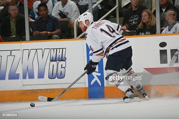 Raffi Torres of the Edmonton Oilers skates with the puck during Game 2 of the Western Conference Semifinals against the San Jose Sharks on May 8,...