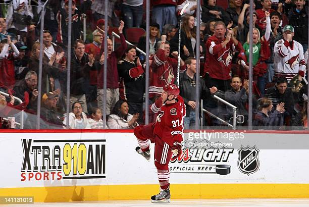 Raffi Torres of the Phoenix Coyotes celebrates after scoring a third period goal against the San Jose Sharks during the NHL game at Jobingcom Arena...