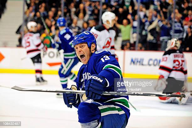 Raffi Torres of the Vancouver Canucks celebrates scoring a goal during the game against the New Jersey Devils at Rogers Arena on November 1, 2010 in...