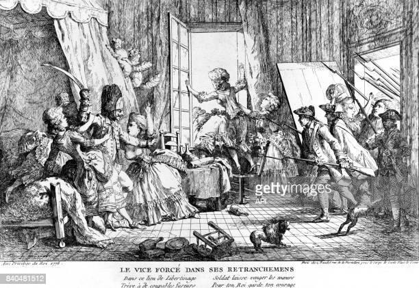Raffle dans une maison close en France, au XVIIIè siècle.