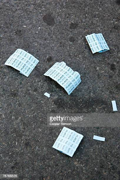 raffle ticket on the street - lotterytickets stock pictures, royalty-free photos & images