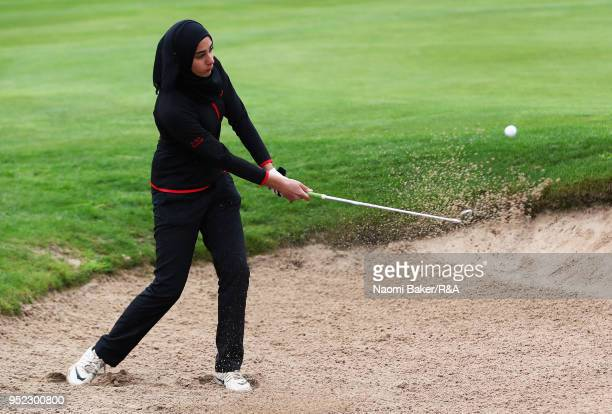 Rafiah Banday takes her second shot on the 8th hole during the second round of the Girls' U16 Open Championship at Fulford Golf Club on April 28 2018...