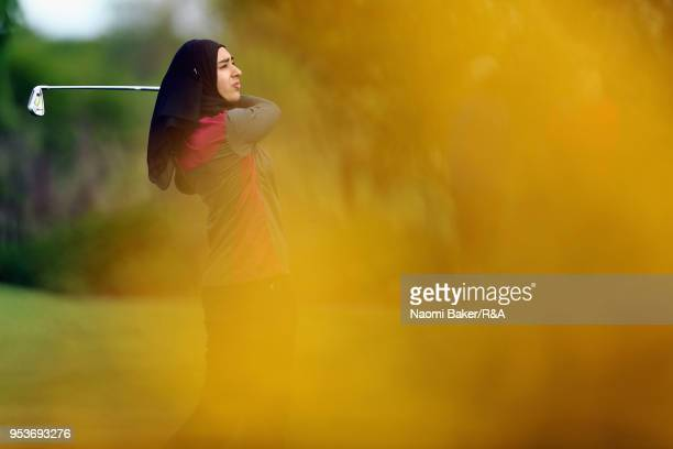 Rafiah Banday tees off the 3rd hole during the final round of the Girls' U16 Open Championship at Fulford Golf Club on April 29 2018 in York England