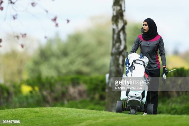 Rafiah Banday walks onto the 2nd green during the final round of the Girls' U16 Open Championship at Fulford Golf Club on April 29 2018 in York...