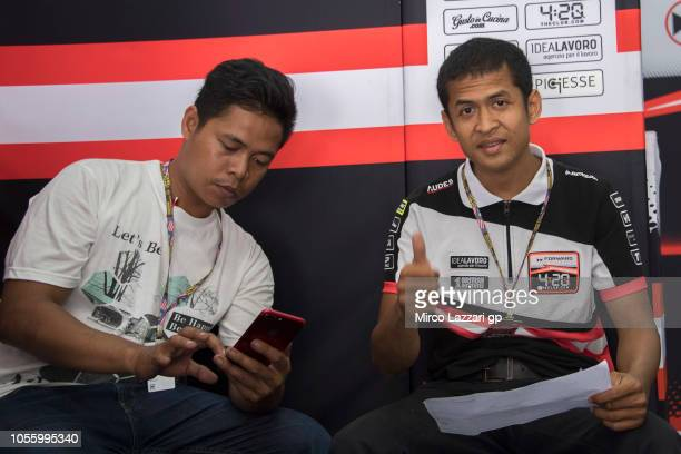 Rafid Topan Sucipto of Indonesia and Forward Racing Team greets in box during the MotoGP Of Malaysia Previews at Sepang Circuit on November 1 2018 in...