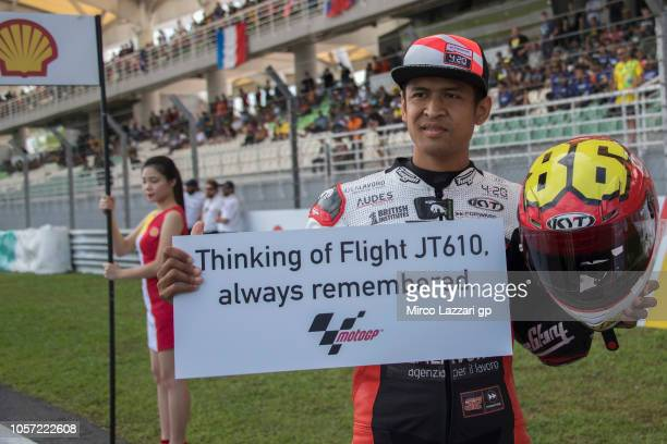Rafid Topan Sucipto of Indonesia and Forward Racing Team prepares to start on the grid and remember the Flight JT610 during the Moto2 race during the...