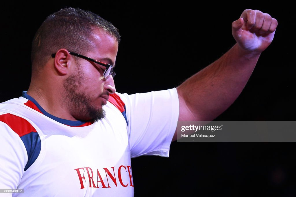 Rafik Arabat of France celebrates during the Men's Upt to 88Kg Group B Category as part of the World Para Powerlifting Championship Mexico 2017 at Juan de la Barrera Olympic Gymnasium on December 6, 2017 in Mexico City, Mexico.