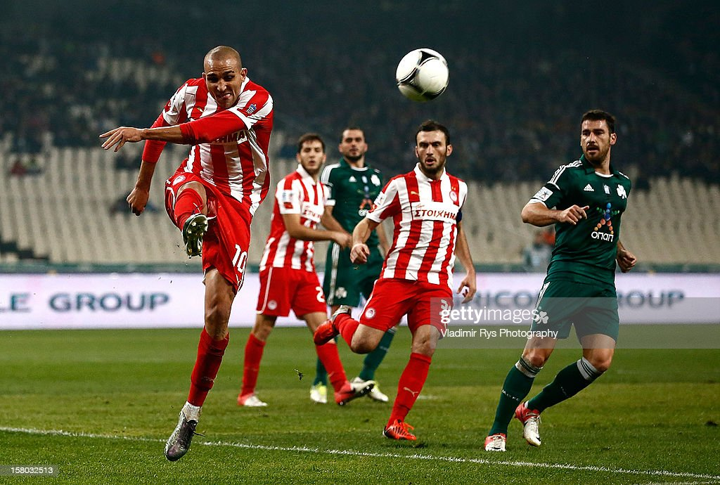 Rafik Djebbour of Olympiacos in action during the Superleague match between Panathinaikos FC and Olympiacos Piraeus at OAKA Stadium on December 9, 2012 in Athens, Greece.
