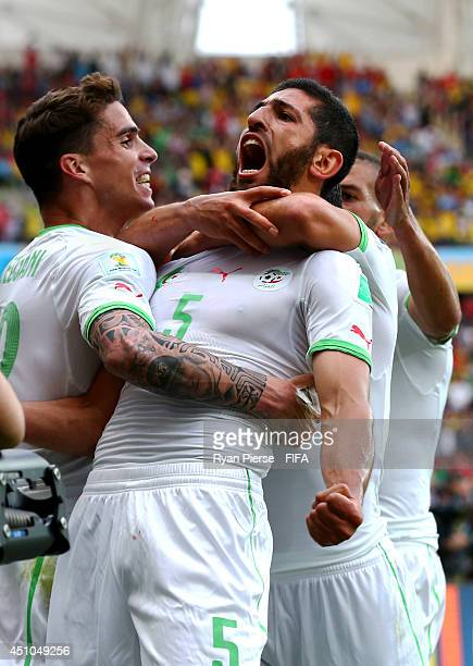 Rafik Halliche of Algeria celebrates scoring his team's second goal with his teammates Carl Medjani and Islam Slimani during the 2014 FIFA World Cup...
