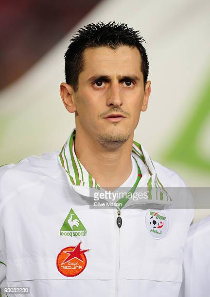 Rafik Saifi of Algeria during the FIFA2010 World Cup qualifying match between Egypt and Algeria at the Cairo International Stadium on November 14...