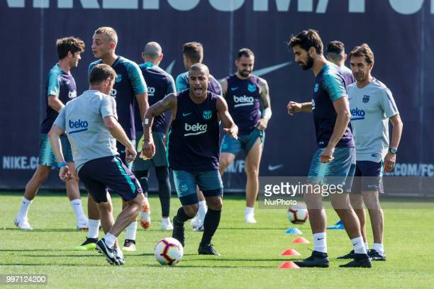 Rafinha Alcantara from Brasil and Andre Gomes from Portugal during the first FC Barcelona training session of the 2018/2019 La Liga pre season in...