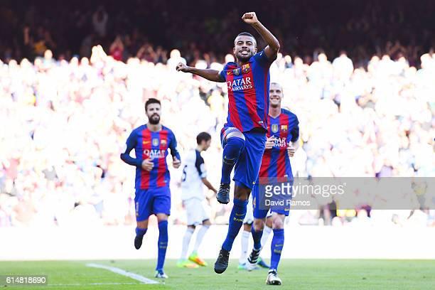 Rafinha Alcantara of FC Barcelona celebrates after scoring his team's second goal during the La Liga match between FC Barcelona and RC Deportivo La...