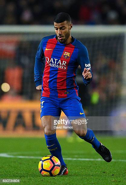 Rafinha Alcantara of FC Barcelona runs with the ball during the La Liga match between FC Barcelona and RCD Espanyol at the Camp Nou stadium on...
