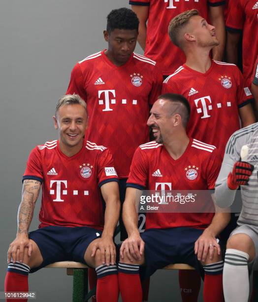 Rafinha David Alaba Joshua Kimmich and Franck Ribery of FC Bayern Muenchen joke during the team presentation at on August 13 2018 in Munich Germany