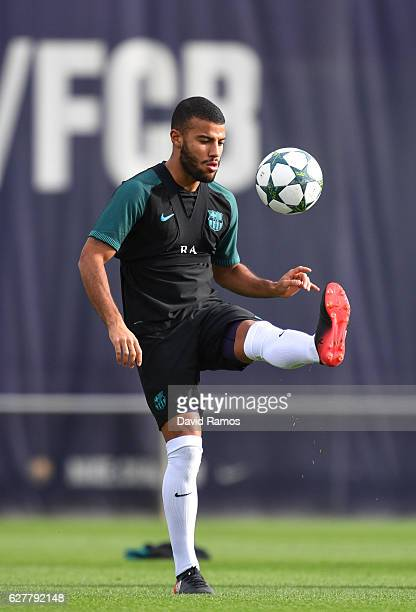 Rafinha of Barcelona controls a ball during a training session ahead of the UEFA Champions League group C match against Borussia Monchengladbach at...