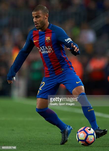 Rafinha of Barcelona in action during the La Liga match between FC Barcelona and Valencia CF at Camp Nou Stadium on March 19 2017 in Barcelona Spain