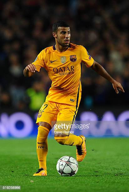 Rafinha of Barcelona in action during the UEFA Champions League quarter final first leg match between FC Barcelona and Club Atletico de Madrid at...