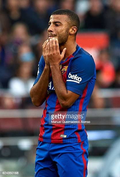 Rafinha of Barcelona reacts as he fails to score during the La Liga match between FC Barcelona and Malaga CF at Camp Nou stadium on November 19 2016...