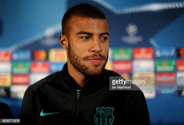 Rafinha of Barcelona speaks to the media during the FC Barcelona press conference at Celtic Park Stadium on November 22 2016 in Glasgow Scotland