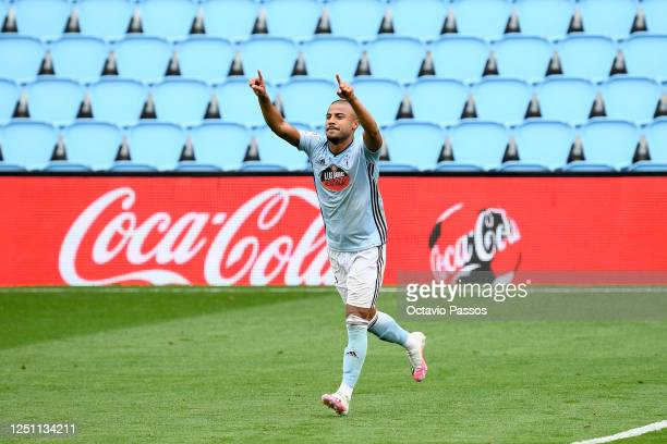 Rafinha of Celta Vigo celebrates after scoring his team's fourth goal during the Liga match between RC Celta de Vigo and Deportivo Alaves at...